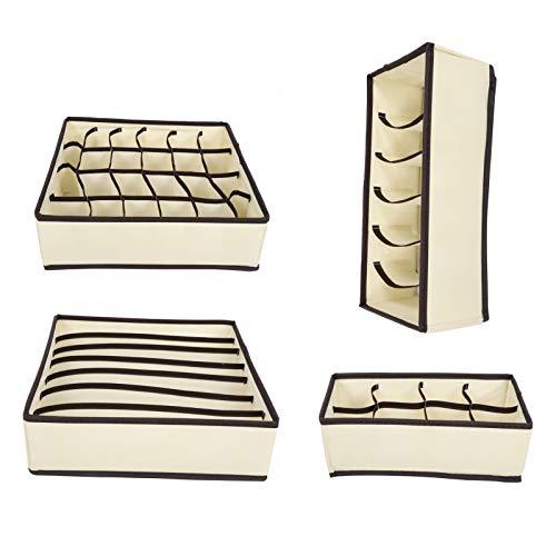 PBOHUZ Caja de Almacenamiento de Ropa Interior: 4 Piezas de Ropa Interior Cajón de Calcetines Organizador de Armario Cajas de Almacenamiento Plegables para Corbatas Calcetines Toalla de Sujetador