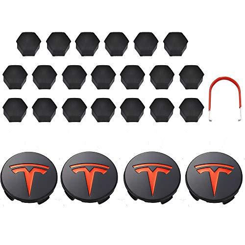 Tapas Para Llantas Compatible con Tesla Aluminio Modelo 3 / S/X/Rueda Caps Caps Cubierta de hub Tornillo Tornillo Kit de logotipo Neumáticos decorativos Tapa Modificación Accesorios Tapas de cubo