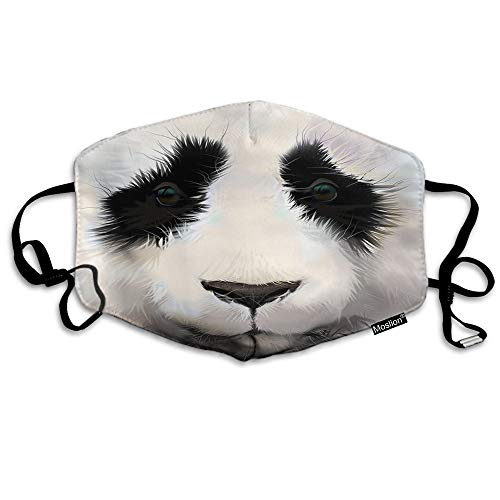 F Panda Masker Leuke Dier Panda Portret met Grote Zwarte Ogen Witte Veer Mond Masker Unisex Maskers Herbruikbare Wasbaar Polyester Anti-Stof Masker voor Mannen Vrouwen Buiten