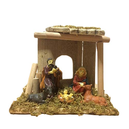 Dynamicoz Traditional Christmas Nativity Scene, LED Light Up Traditional Christmas Decoration Resin, Christmas Baby Jesus Set, Crafts Catholic Christian Gift