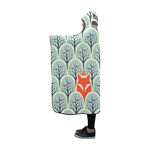 YXUAOQ Mit Kapuze Decke Waschbär Fox Bear Forest Decke 60 x 50 Zoll Comfotable Hooded Throw Wrap
