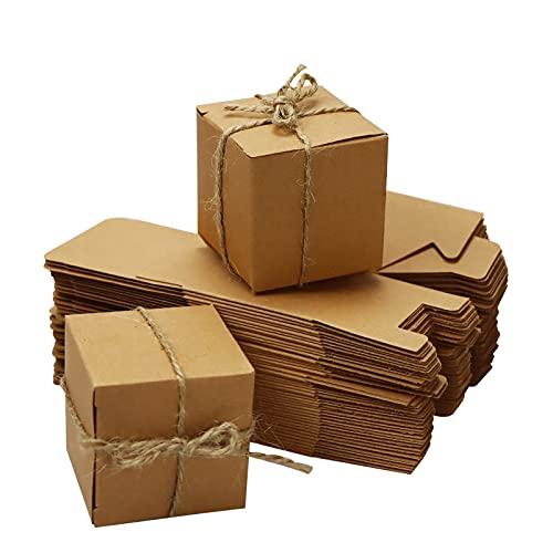 SINGOMON 100PCS Mini Brown Kraft Paper Boxes Small Paper Gift Boxes DIY Cardboard Boxes Rectangle Wedding Favor Gift…
