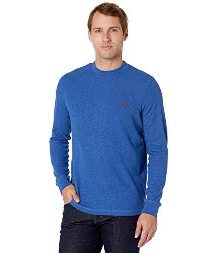 U.S. POLO ASSN. Herren Long Sleeve Crew Neck Solid Thermal Shirt Sweatshirt, Royal Blue Heather, X-Large