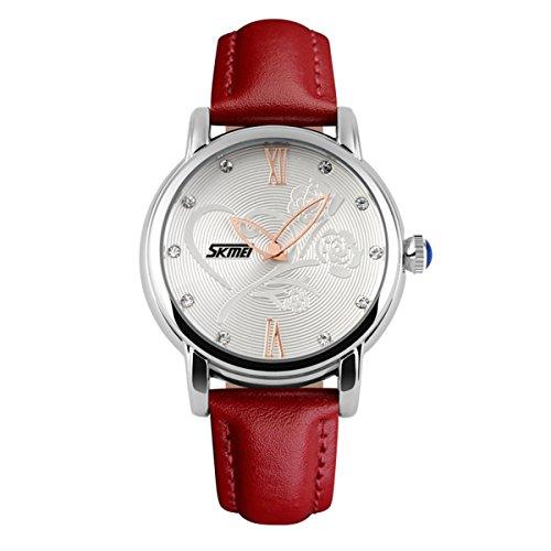 Reloj de la Correa de Piel roja Hermosa de la Mujer aumentó la Cosecha de Flores de marcación Relojes Populares con Clase para señoras agradables