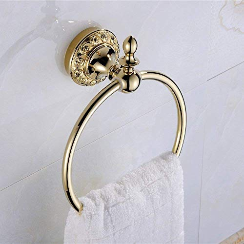 WYZXR Elegante anillo de toalla de latón de lujo Villa baño toalla gancho acabado latón anillo de toalla estante soporte dorado ideal para inodoros dormitorio guardarropa