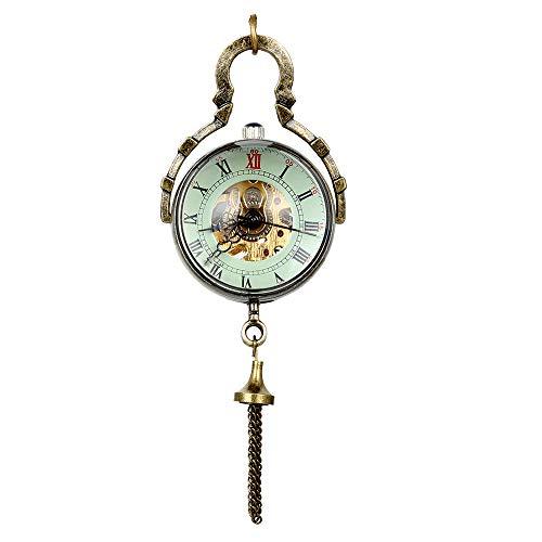 JewelryWe Retro Pocket Watch Concave and Convex Mirror Fisheye Glass Ball Watch Roman Number Mechanical Necklace Watch