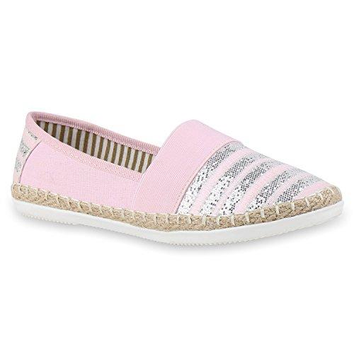 stiefelparadies Bequeme Damen Espadrilles Bast Slipper Metallic Glitzer Flats Freizeit Sommer Schuhe 133153 Rosa Pink 39 Flandell
