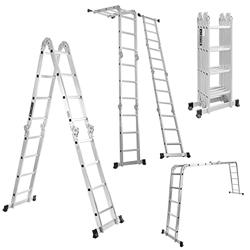 Boudech - RIG-4x4 Escalera plegable multiusos de aluminio con plataforma de andamio...