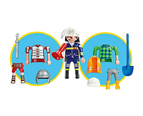 Playmobil 6566. Multi set Niño. Incluye 1 Figura Playmobil intercambiable, Bombero, Obrero o Soldado