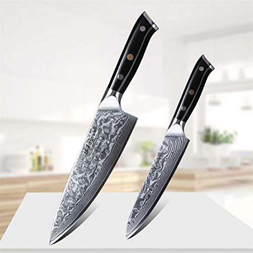 Juego 2 unids chef cuchillo conjunto utilitario cuchillo japonés damasco de acero cuchillos de cocina súper afilado cocina cuchillo conjunto de cuchillos herramientas cocina