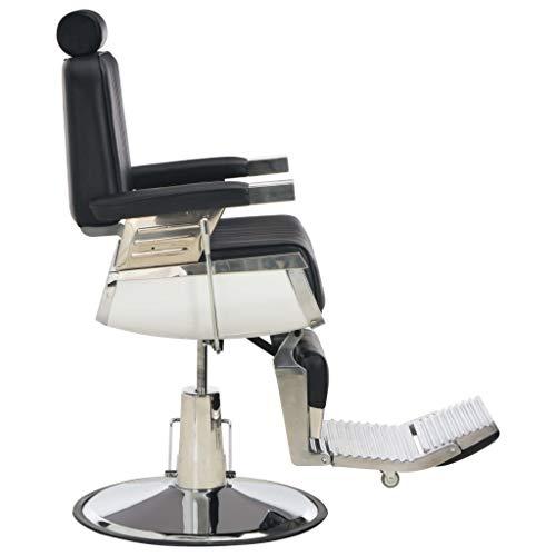 vidaXL Poltrona da Barbiere Imbottita Regolabile Girevole 360° Barba Capelli con Poggiatesta Poggiapiedi Sedia da Parrucchiere Nera in Similpelle