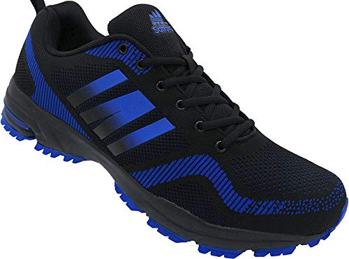 Herren Sportschuhe Sneaker Turnschuhe Schuhe Übergröße gr.47-49 Art.-Nr.1388 schwarz-royal (48)