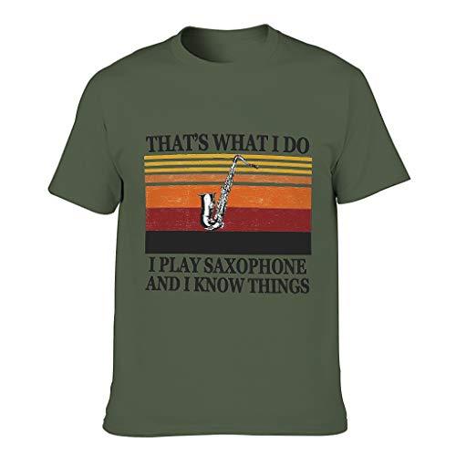 Herren T-Shirt mit Saxophon-Motiv Know Things, Baumwolle, personalisierbar Gr. M, armee-grün