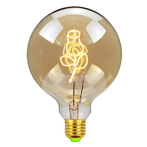 NAYOU Led Bulbs Vintage Light Bulb 4W Amber Dimmable 220V E27 Edison Led Filament Bulb, Decorative Ligth, Warmth Glow (G125 Roses) [Energy Class A++]