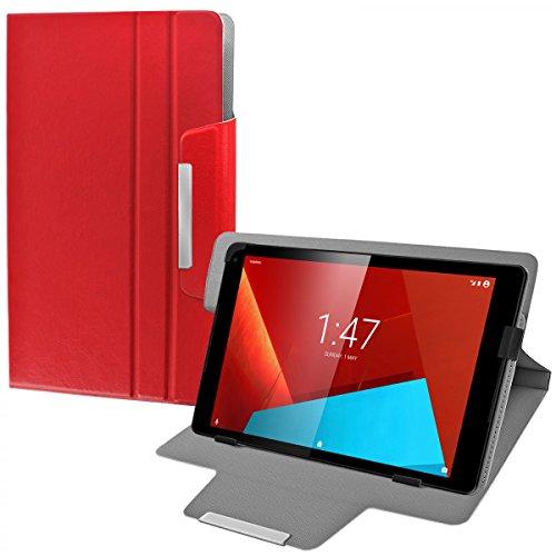 eFabrik Custodia Universale Tablet per Vodafone Tab Prime 7 Cover 10.1 Pollici Case Caso Casi Sacchetto di Protezione Folio Finta Pelle Rosso