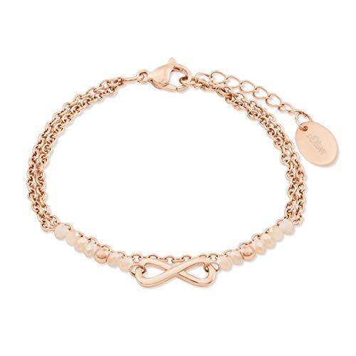 s.Oliver Armband für Damen, Edelstahl, Glas Infinity