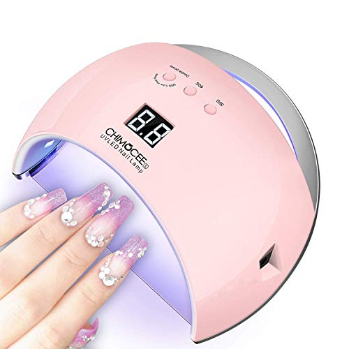 48W Gel Nail Light, CHIMOCEE UV Led Nail Lamp, Auto Sensor Nail Gel Polish Dryer With 3 Timer Setting, Double Power Button, Painless Professional Gel Nail Light for All Gel Polish