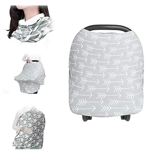 Qivange Nursing Cover Privacy Carseat Canopy Cotton Large Full Coverage Infinity Nursing Scarf Gray Infant Stroller Baby Car Seat Covers for Girl Boy New Born