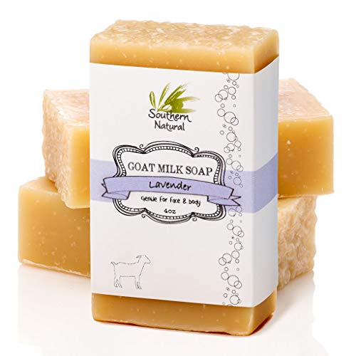 Lavender Goat Milk Soap Bars - Great for Dry Sensitive Skin! All Natural Handmade Soap. Gentle Baby Soap, Face Soap & Body Soap for Men, Women, Kids & Babies. (3 BARS)