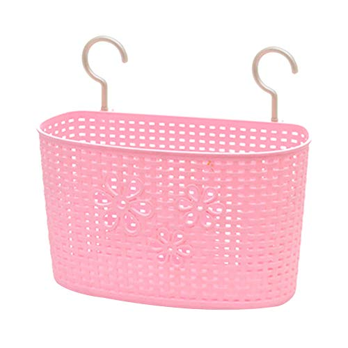 Weimay - Cesta colgante rosa de plástico, para cocina, baño, almacenamiento, gel de ducha, champú, ropa líquida, lavabo, cesta colgante, jabón, cesta de desagüe