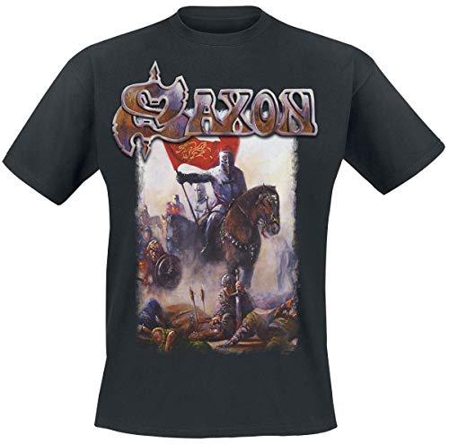 Saxon T Shirt Crusader Band Logo British Metal Nuevo Oficial De Los Hombres