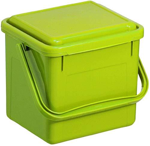 Rotho Bio, Abfallbehälter für die Küche aus Kunststoff mit geruchsdichtem Deckel in hellgrün, Biomülleimer mit 5 Liter Inhalt, ca. 21 x 20 x 18 cm Komposteimer, Plastik, klein