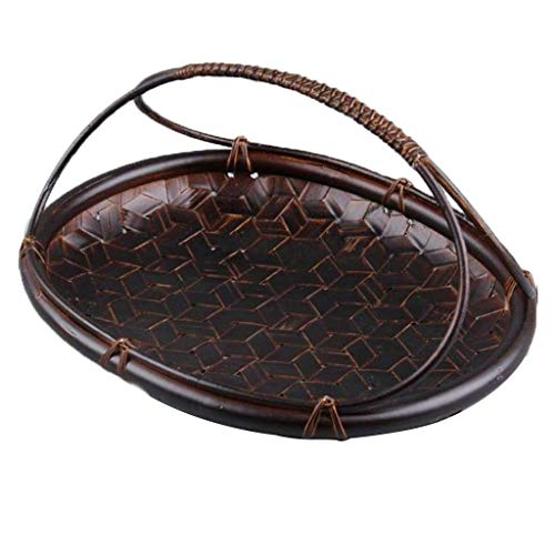 COLiJOL Fruit Bowl Hand-Woven Storage Basket Round/Vintage Style Large Capacity Housewares Storage Fruit and Other Produce Fruit Basket (Size : 30 * 21 * 8Cm),27 * 22 * 15Cm,27 * 22 * 15Cm