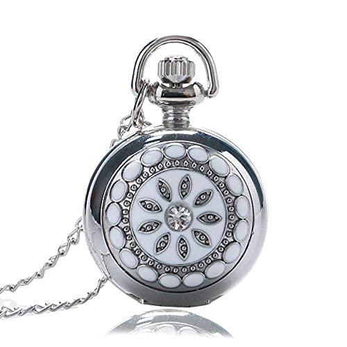 Reloj de Bolsillo Moda Collar de Plata Reloj de Bolsillo Flor Exquisita Steampunk Espejo Interior con Bolsa Regalo para Mujeres Chica Damas Retro Punk