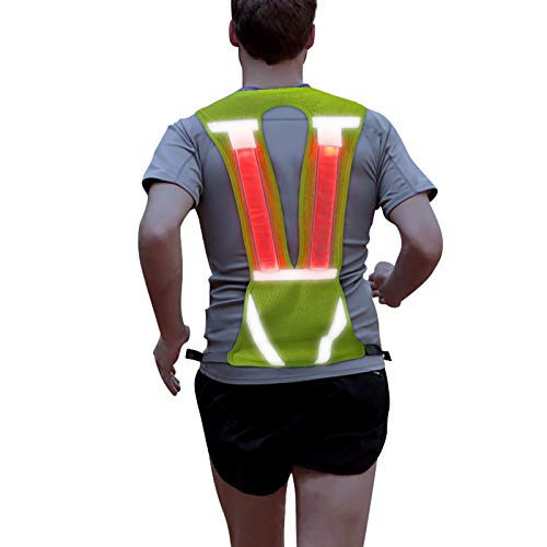 Reflective Running Vest Led Safety Vest with Adjustable Waist & Large Pocket for Jogging Biking Motorcycle Walking (Green Vertical)