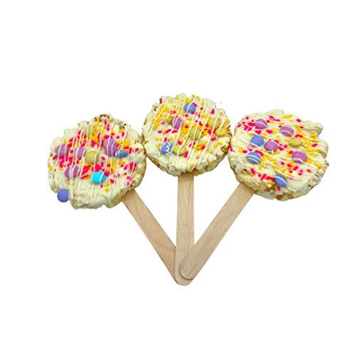 Popilicious Gourmet Popcorn Pop with Pastel M&Ms and White Chocolate, Gluten Free, 6 Count, 3 oz., Individually Wrapped, Perfect for Easter, Mothers Day and Spring Celebrations