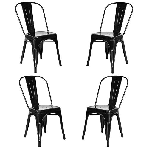 Vaukura Silla Oliix (Pack 4) - Silla Industrial Metálica Brillo (Negro)