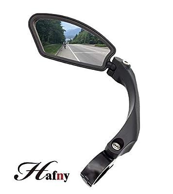 Hafny Handlebar Bike Mirror, Stainless Steel Mirror, Safe Rearview Mirror,HF-MR080 (Black Left Side)