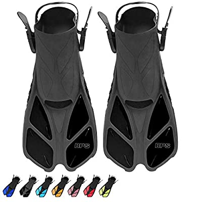 BPS Short Blade Swim Fins - with Adjustable Strap and Open-Toe, Open-Heel Design - for Swimming, Diving, Snorkeling, Scuba Diving - for Kids and Adults (Black - XXS/XS)