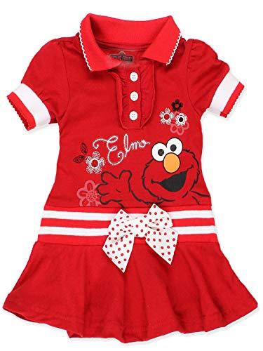 Sesame Street Elmo Baby Toddler Girls Knit Polo Dress with Collar (3T, Toddler Elmo)