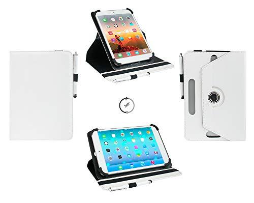 emartbuy Universal 7 Zoll - 8,4 Zoll Weiß 360 Grad Drehen Stand Folio Brieftasche Fall Abdeckung & Stylus Pen Kompatibel mit Ausgewählten Unten Aufgeführten Geräten