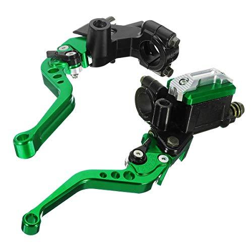 VBCAI 7 / 8InCH 22 mm Motocicleta Universal Manguines de Freno manillares Hidráulico Embrague Master Cilindro Palancas (Color : Green)