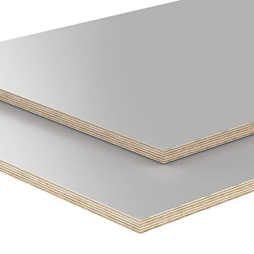 AUPROTEC Tischplatte 18mm grau 1600 mm x 800 mm rechteckige Multiplexplatte melaminbeschichtet von 40cm-200cm auswählbar Birken-Sperrholzplatten Massiv Holz Industriequalität Auswahl: 160x80 cm