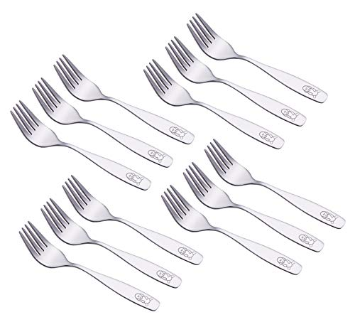 Exzact 12 Pieces Kids Forks Stainless Steel Small Childrens Flatware/Silverware/Cutlery Set - 12 x Children Safe Forks - Child and Toddler Safe Utensils Dessert (Engraved)