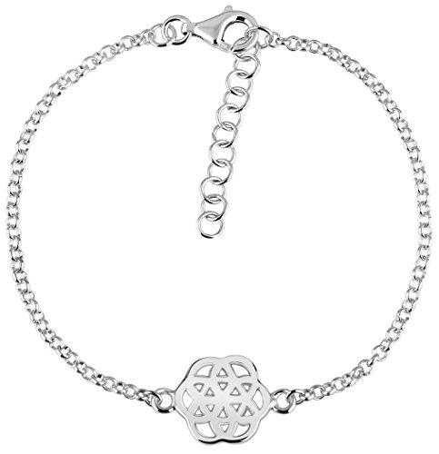 Nenalina plata pulsera de Mujer con flor de la vida 2 mm longitud 18 cm + 3 cm extensión 331094-000