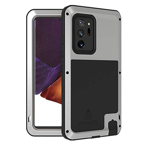 LOVE MEI for Samsung Galaxy Note 20 Ultra Case, Outdoor Sports Military Heavy Duty Shockproof Hybrid Aluminum Metal+Silicone Case Hard Cover Without Tempered Glass for Galaxy Note 20 Ultra (Silver)