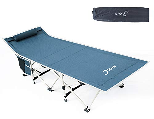 Nice C Folding Camping Cot, Sleeping Bed, Tent Cot, with Pillow, Carry Bag & Storage Bag, Extra Wide Sturdy, Heavy Duty Holds Up to 500 Lbs, Lightweight, Comfortable for Outdoor&Indoor(Grey)