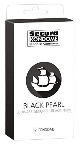 Secura Black Pearl 12er Kondome - 12 schwarze Präservative zur Verhütung ohne Hormone für Männer, mit Noppen zur erhöhten Stimulation
