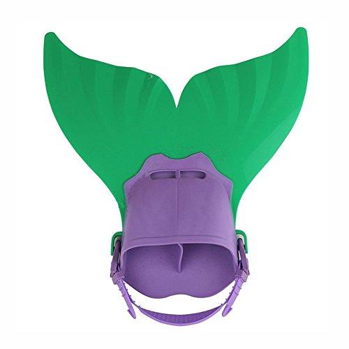 Sunnyadrain Kids Mermaid Fin Mermaid Monofin Tail Flipper Swimwear Green