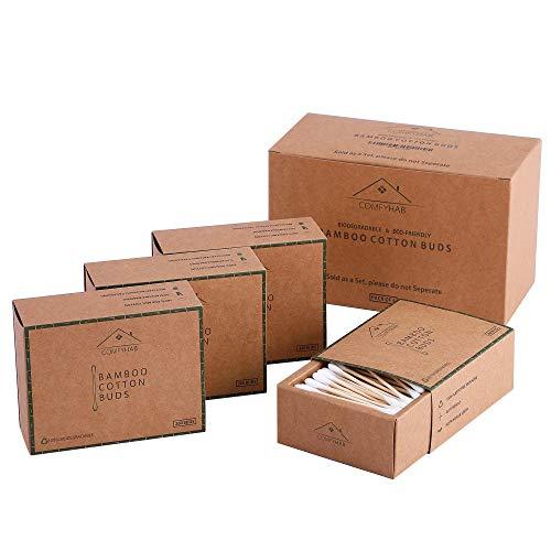 ComfyHab Bambus-Wattestäbchen, 800 umweltfreundliche Ohrstöpsel, kein Abfall, Wattestäbchen, Holz-Q Spitzen, biologisch abbaubare Wattestäbchen, 4 Stück Bio-Ohrenstäbchen