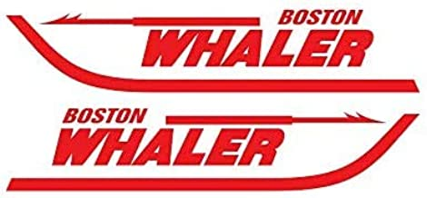 Pair of Boston Whaler Boats Outboards Decals Vinyl Stickers Boat Outboard Motor Lot of 2 12 X 2.5, Black 070
