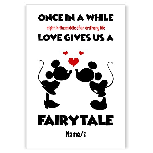 Personalised MICKEY & MINNIE MOUSE wall print. Gift for husband, wife, boyfriend, girlfriend, engaged, couple. Anniversary present, New Home, Birthday, Christmas. Framed picture / (A4 Print)