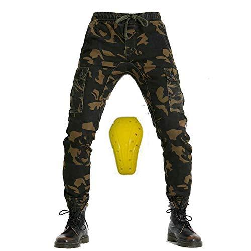 YXYECEIPENO Vier Jahreszeiten Radhose Anti-Drop Workwear Jeans 3 Verschiedene Abnehmbare Schutzausrüstungen Für Männer Und Frauen (3 Farben, 3 Schutzausrüstung) (Color : Camouflage A, Size : Small)