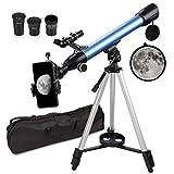 QUNSE Telescopio Astronómico - 24x-200x, F60050M, Incluye Adaptador Móvil, Funda, Trípode Regalo para Principiantes y Niños (C)