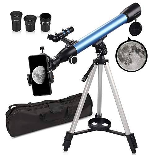 QUNSE Teleskop Astronomie 60/500 20x-200x Fernrohr Teleskop für Kinder Einsteiger Amateur-Astronomen mit Aluminium Stativ Smartphone Adapter Suchfernrohr und Kompass (C)