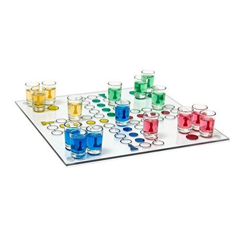 Relaxdays Ludo Spel, partyspel voor volwassenen, plank, 2 dobbelstenen & 16 shotglazen, grappig drinkspel, kleurrijk